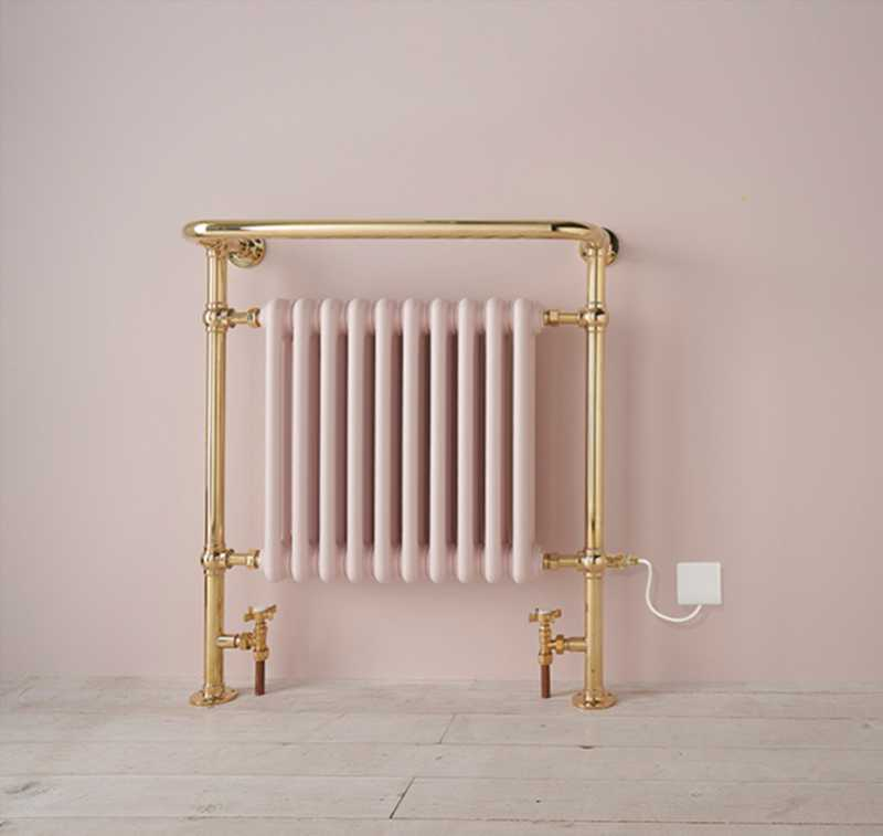traditional bisque radiators in blush pink and gold