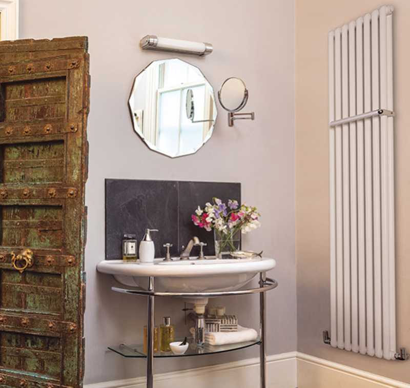 Bisque large wall-hung white bathroom radiator